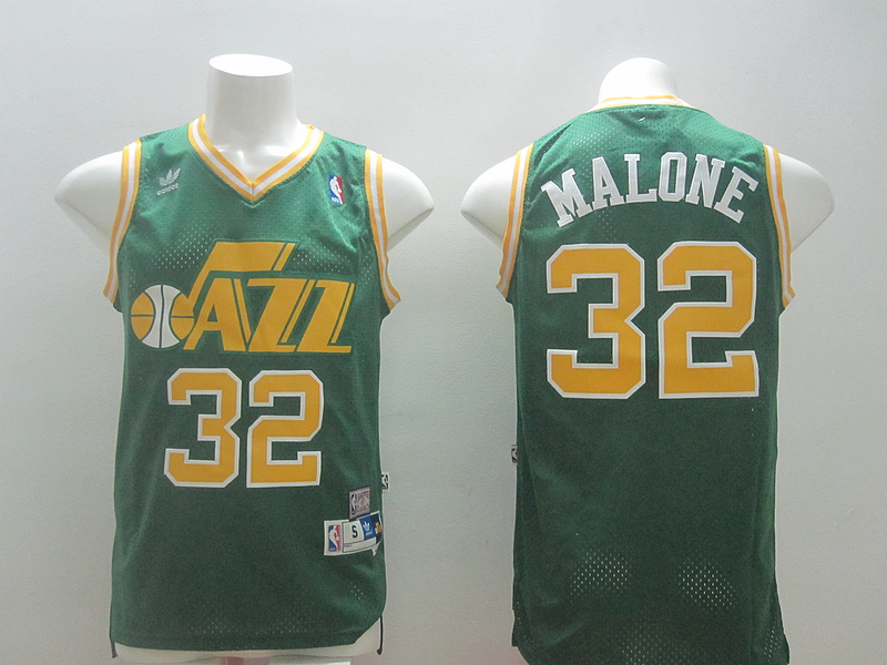 NBA Utah Jazz 32 Carl Malone Green 2014 Jerseys