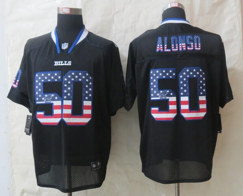 2014 New Nike Buffalo Bills 50 Alonso USA Flag Fashion Black Elite Jersey