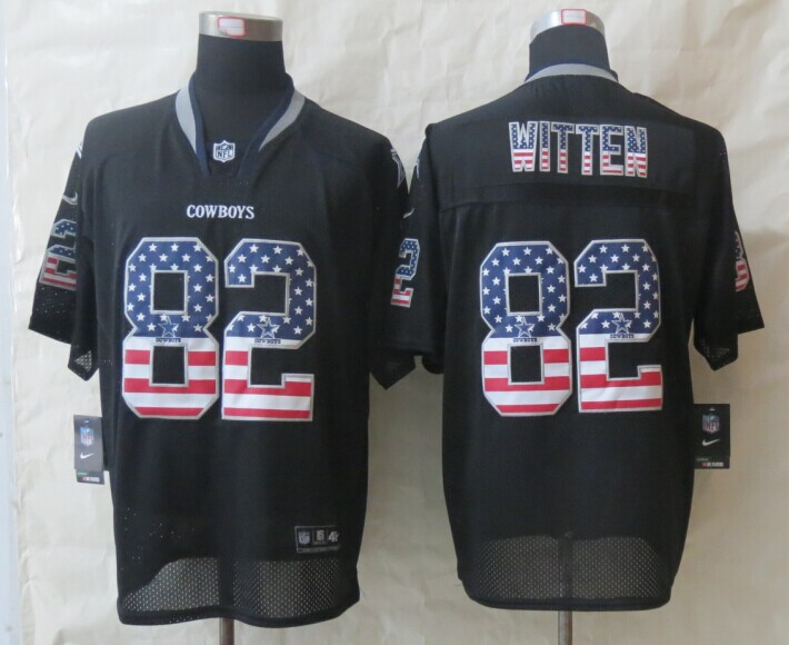2014 New Nike Dallas cowboys 82 Witten USA Flag Fashion Black Elite Jerseys