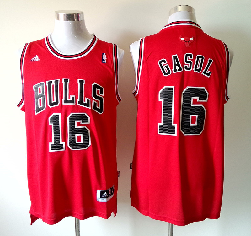 NBA Chicago Bulls 16 Gasol red 2014 Jerseys