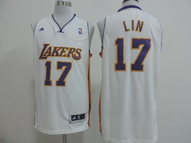 NBA Los Angeles Lakers 17 Jeremy Lin Revolution 30 White jerseys