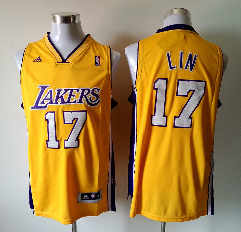 NBA Los Angeles Lakers 17 Jeremy Lin Revolution 30 yellow jerseys