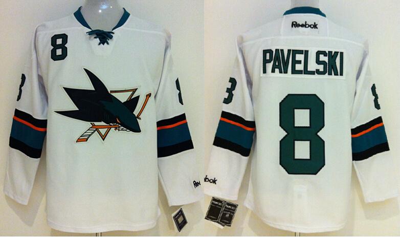 NHL San Jose Sharks 8 Pavelski White 2014 Jerseys