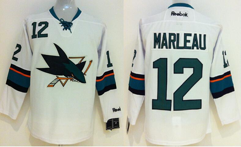 NHL San Jose Sharks 12 Patrick Marleau White 2014 Jerseys