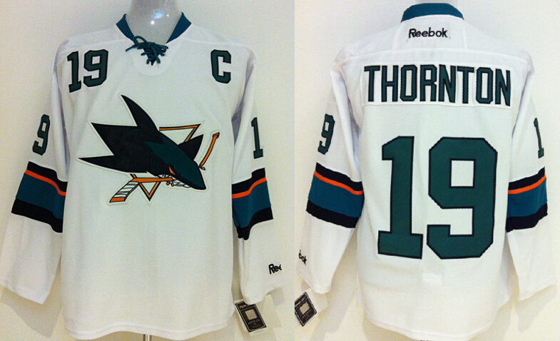 NHL San Jose Sharks 19 Joe Thornton White 2014 Jerseys