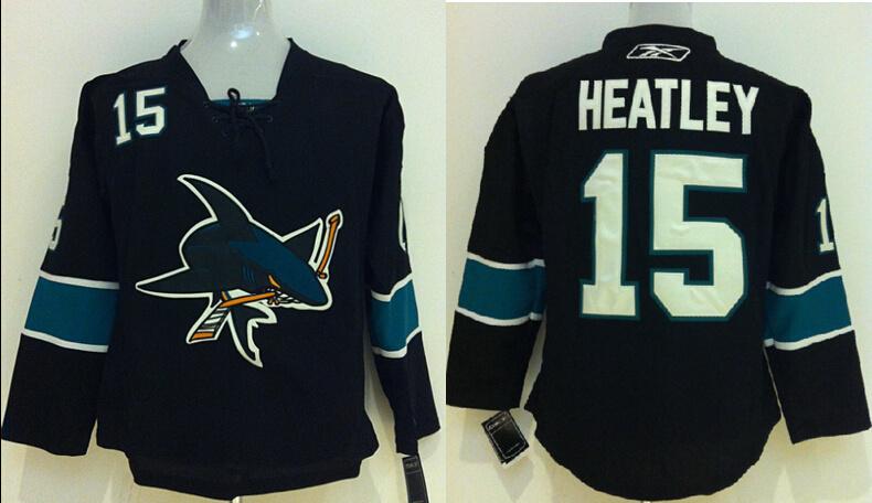 Youth NHL San Jose Shark 15 Dany Heatley Black 2014 Jerseys