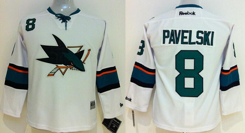 Youth NHL San Jose Sharks 8 Pavelski White 2014 Jerseys