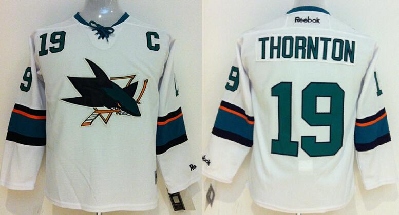 Youth NHL San Jose Sharks 19 Joe Thornton White 2014 Jerseys