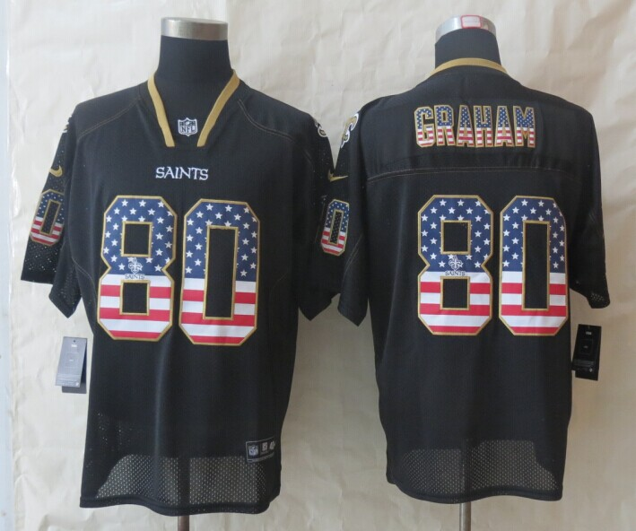 2014 New Nike New Orleans Saints 80 Graham USA Flag Fashion Black Elite Jerseys
