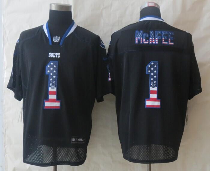 2014 New Nike Indianapolis Colts 1 McAfee USA Flag Fashion Black Elite Jerseys