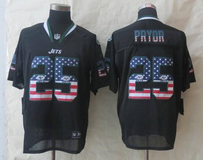2014 New Nike New York Jets 25 Pryor USA Flag Fashion Black Elite Jerseys