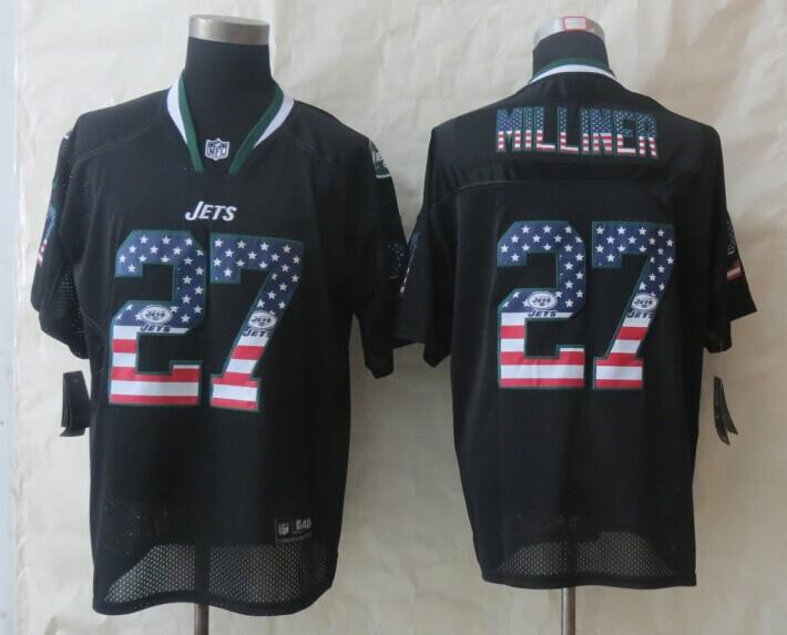 2014 New Nike New York Jets 27 Milliner USA Flag Fashion Black Elite Jerseys