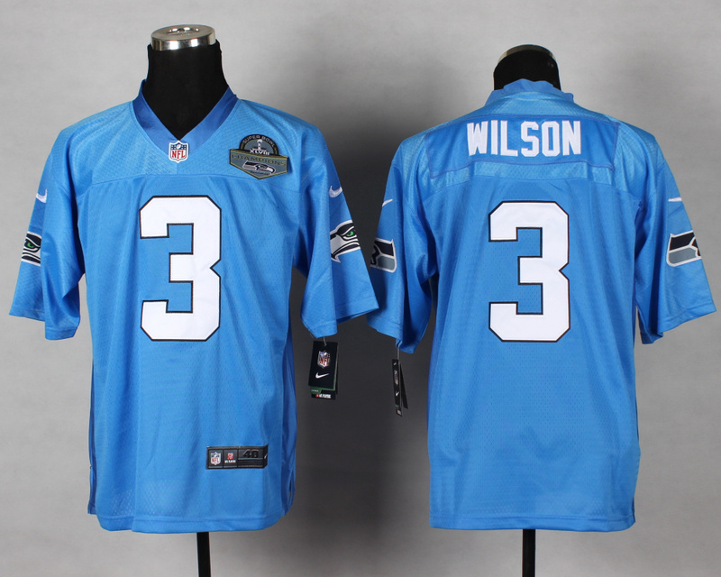Seattle Seahawks 3 Wilson QB Blue 2014 Nike Elite Jersey