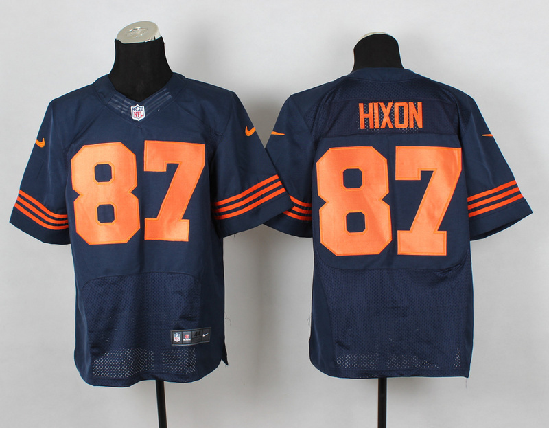 Chicago Bears 87 Hixon Blue Orange Nike NFL 2014 Elite Jerseys