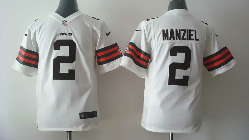 Youth Cleveland Browns 2 Johnny Manziel White Nike 2014 Jerseys