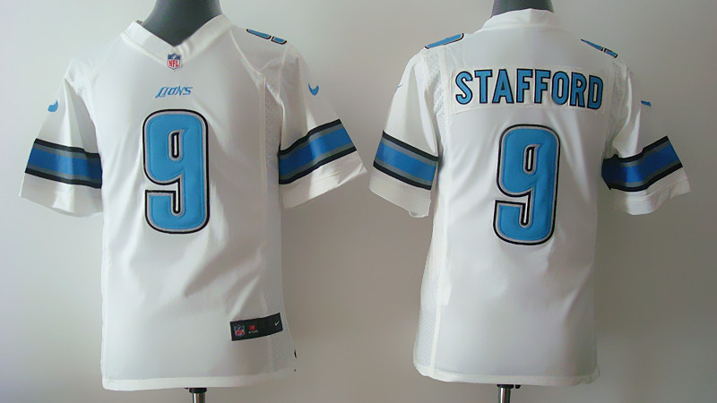 Youth Detroit Lions 9 Matthew Stafford White Nike 2014 Jerseys