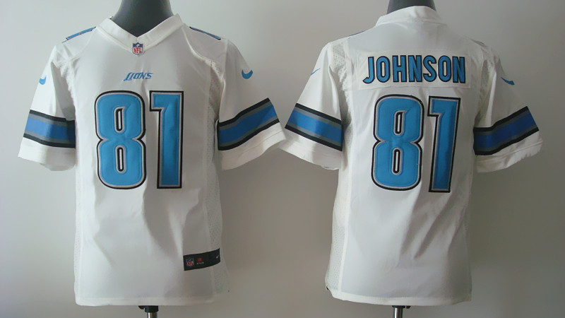 Youth Detroit Lions 81 Calvin Johnson White Nike 2014 Jerseys