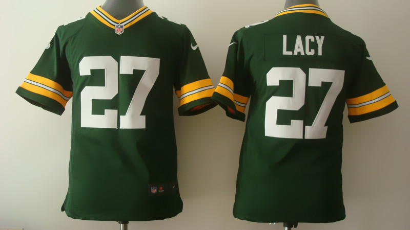 Youth Green Bay Packers 27 Lacy Green Nike 2014 Jerseys