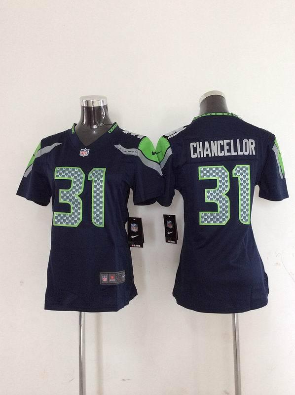 Womens Seattle Seahawks 31 Chancellor Blue Nike 2014 Jerseys