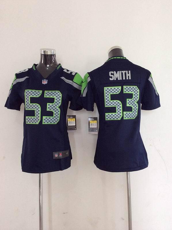 Womens Seattle Seahawks 53 Smith Blue Nike 2014 Jerseys