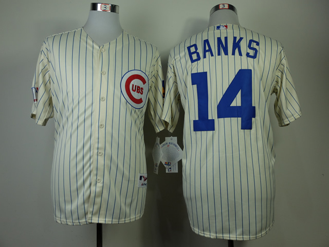 MLB Chicago Cubs 14 Banks Gream 1969 Turn The Clock Jersey