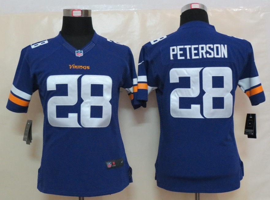 Womens Minnesota Vikings 28 Peterson Purple New Nike Limited Jerseys