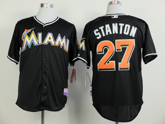 MLB Miami Marlins 27 Giancarlo Stanton Black 2014 Jerseys