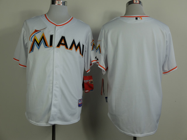 MLB Miami Marlins Blank White 2014 Jerseys