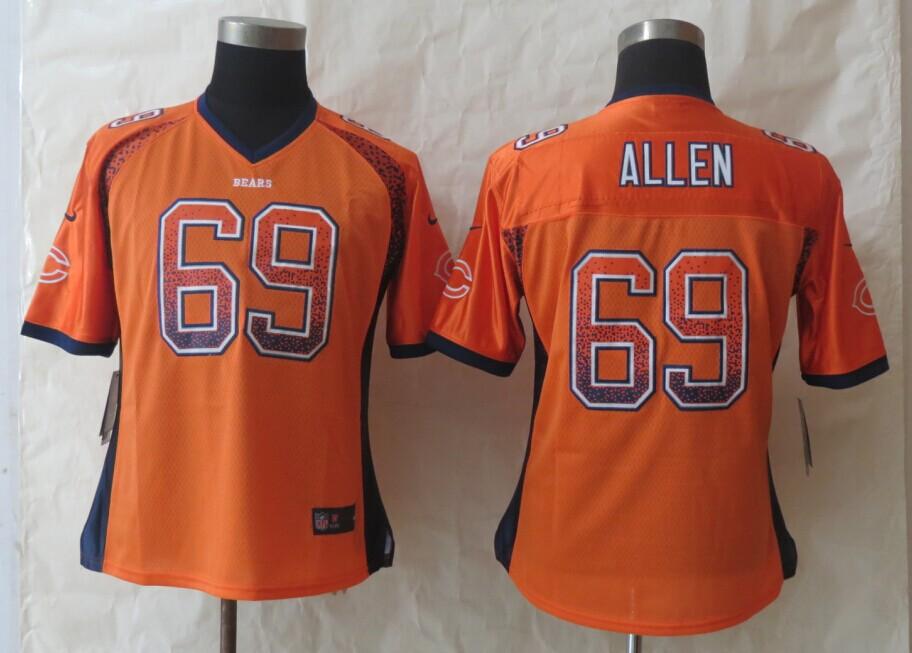 Women 2014 New Nike Chicago Bears 69 Allen Drift Fashion Orange Elite Jerseys