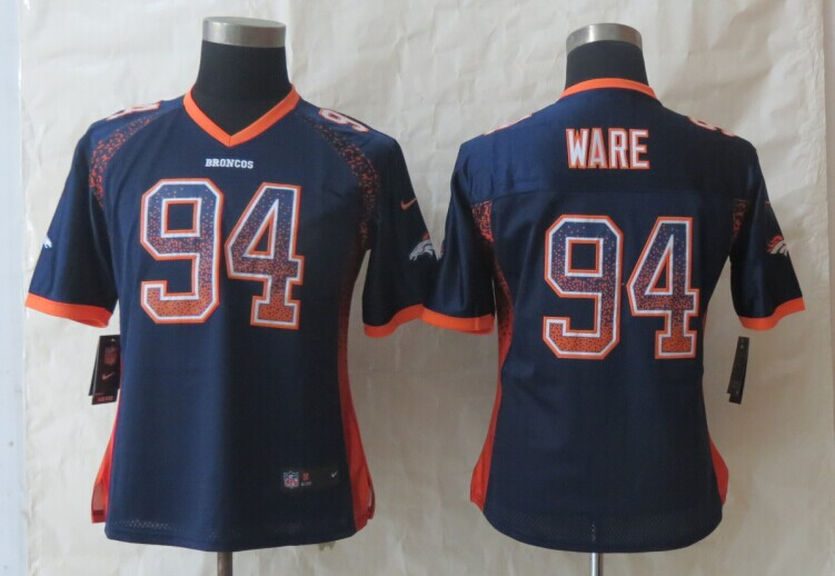 Women 2014 New Nike Denver Broncos 94 Ware Drift Fashion Blue Elite Jerseys