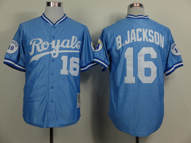 MLB Kansas City Royals 16 Bo Jackson 1987 Throwback Blue Baseball Jersey