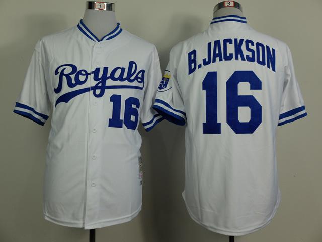 MLB Kansas City Royals 16 Bo Jackson White 1980 Turn The Clock Jersey