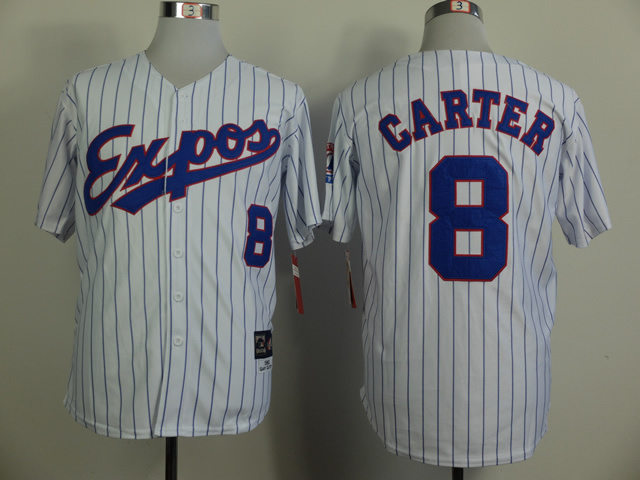 MLB Montreal Expos 8 Carter White Pinstripe 1982 Throwback jerseys