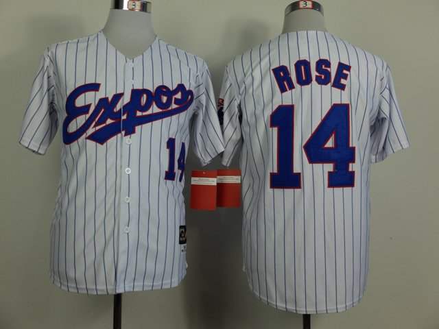 MLB Montreal Expos 14 Pete Rose White Pinstripe Throwback Jersey