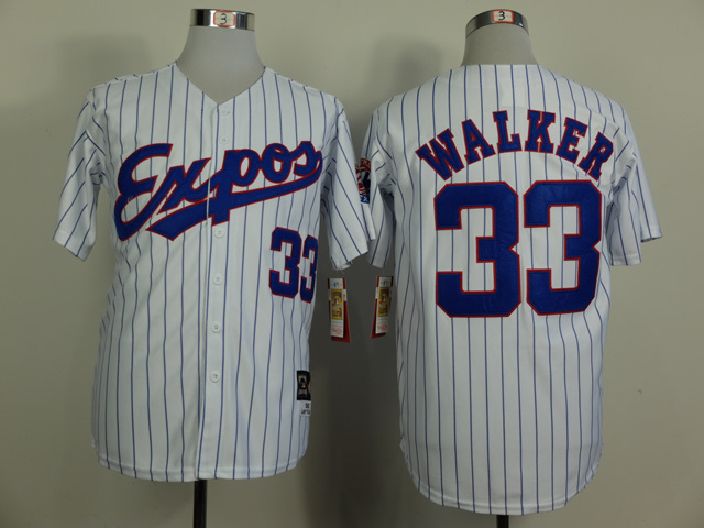 MLB Montreal Expos 33 Walker White Pinstripe Throwback Jerseys