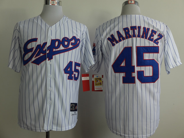 MLB Montreal Expos 45 Martinez White Pinstripe Throwback Jerseys