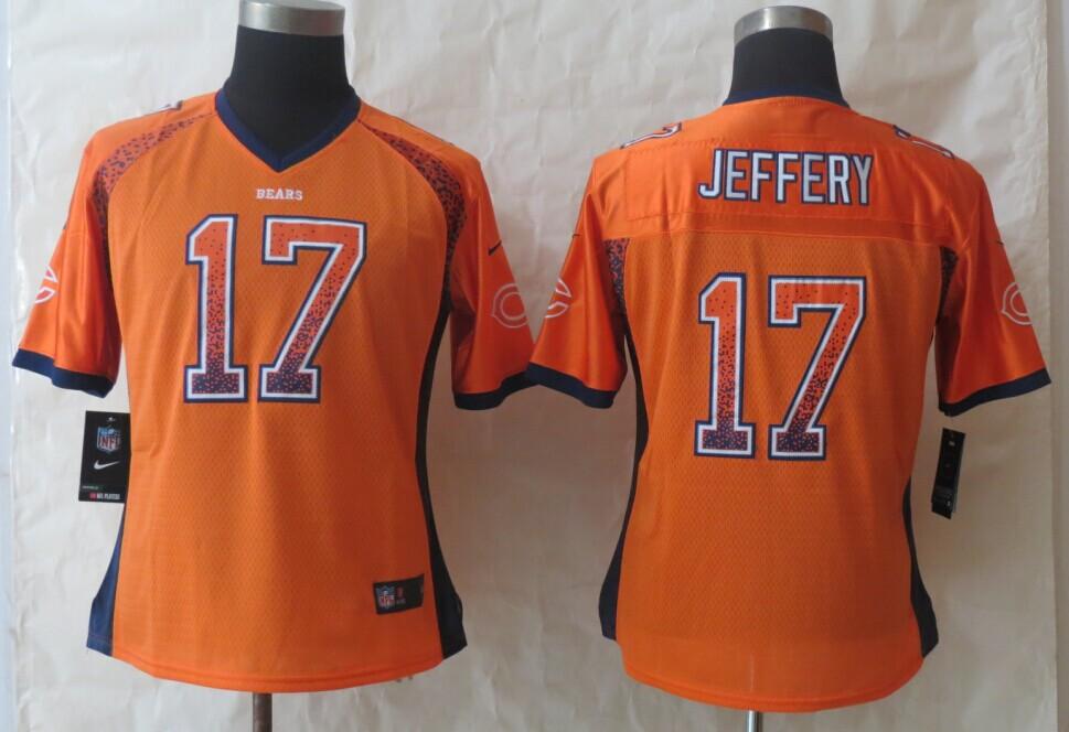 Womens Chicago Bears 17 Jeffery Drift Fashion Orange 2014 New Nike Elite Jerseys