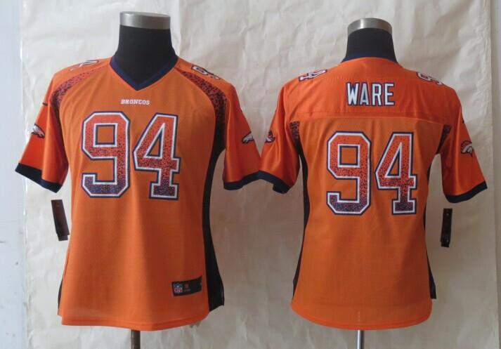 Womens Denver Broncos 94 Ware Drift Fashion Orange 2014 New Nike Elite Jerseys