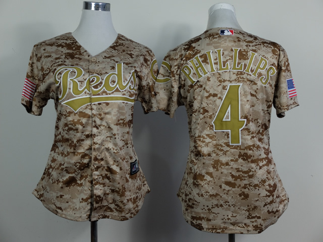 Womens MLB Cincinnati Reds 4 Brandon Phillips Camo 2014 Jersey