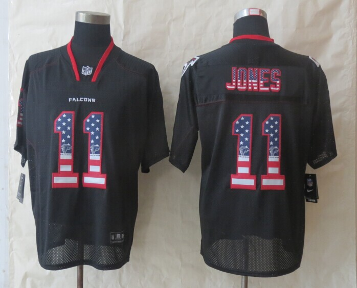 2014 New Nike Atlanta Falcons 11 Jones USA Flag Fashion Black Elite Jerseys