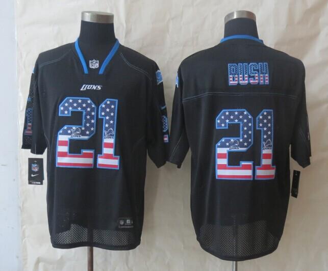 2014 New Nike Detroit Lions 21 Bush USA Flag Fashion Black Elite Jerseys