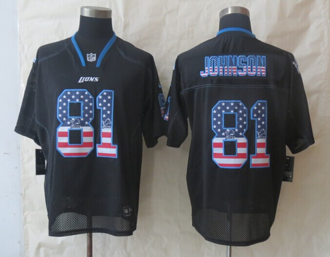 2014 New Nike Detroit Lions 81 Johnson USA Flag Fashion Black Elite Jerseys