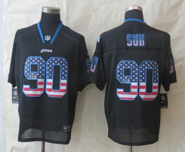 2014 New Nike Detroit Lions 90 Suh USA Flag Fashion Black Elite Jerseys