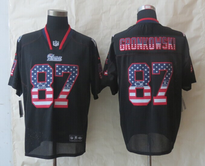 2014 New Nike New England Patriots 87 Gronkowski USA Flag Fashion Black Elite Jerseys