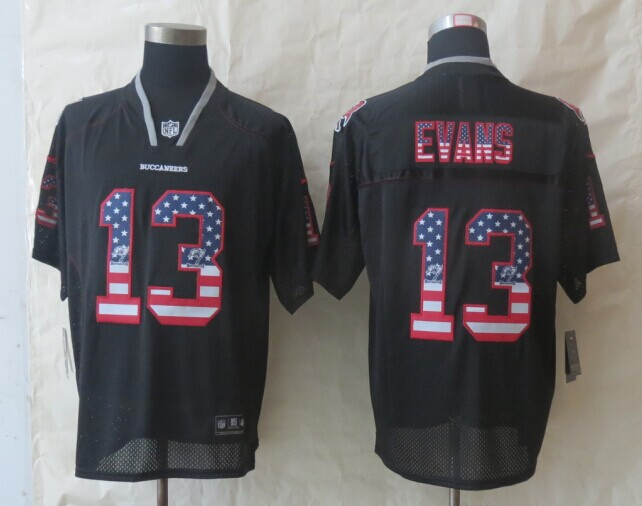 2014 New Nike Tampa Bay Buccaneers 13 Evans USA Flag Fashion Black Elite Jerseys