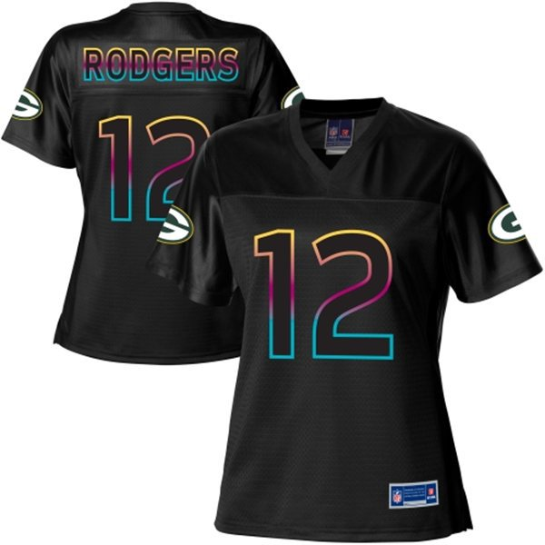 NFL Nike Pro Line Women's Green Bay Packers 12 Aaron Rodgers Fashion Black Jersey