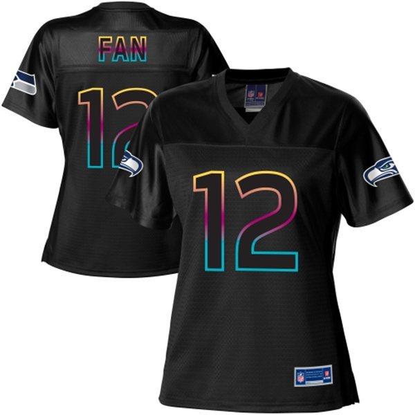 NFL Nike Pro Line Women's Seattle Seahawks 12 Fan Fashion Black Jersey