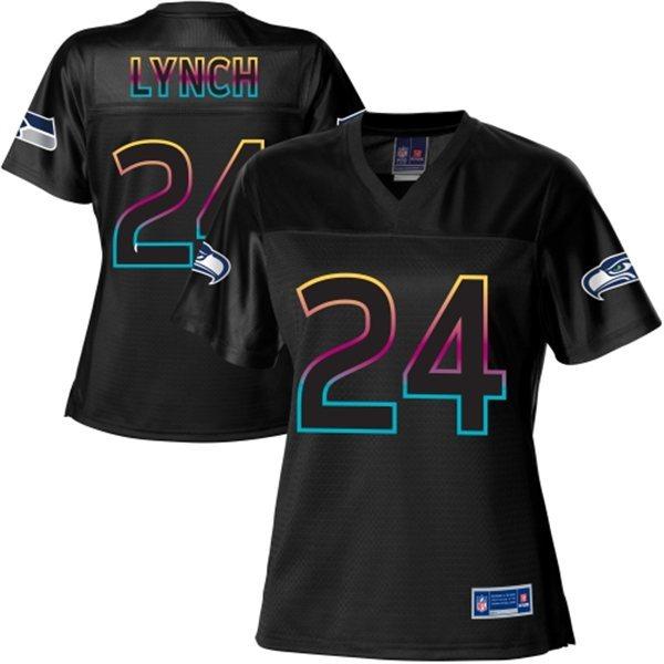 NFL Nike Pro Line Women's Seattle Seahawks 24 Marshawn Lynch Fashion Black Jersey