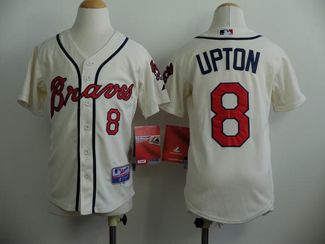 Youth MLB Atlanta Braves 8 JustIn Upton Gream 2014 Jerseys