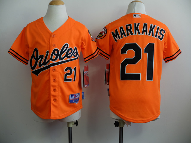 Youth MLB Baltimore Orioles 21 Markakis Orange 2014 Jerseys